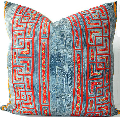 Hmong Pillow Indigo and Coral via HomeGirlCollection