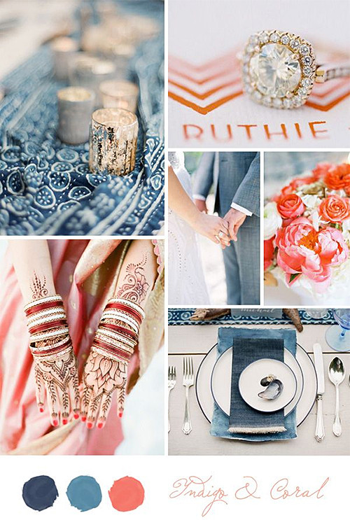 Indigo and Coral Wedding Theme from Belle and Chic