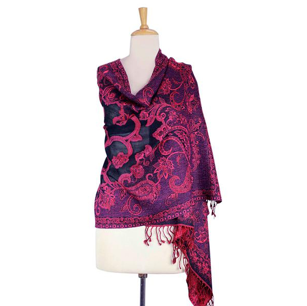 Indian Wool Jamawar Shawl at Novica