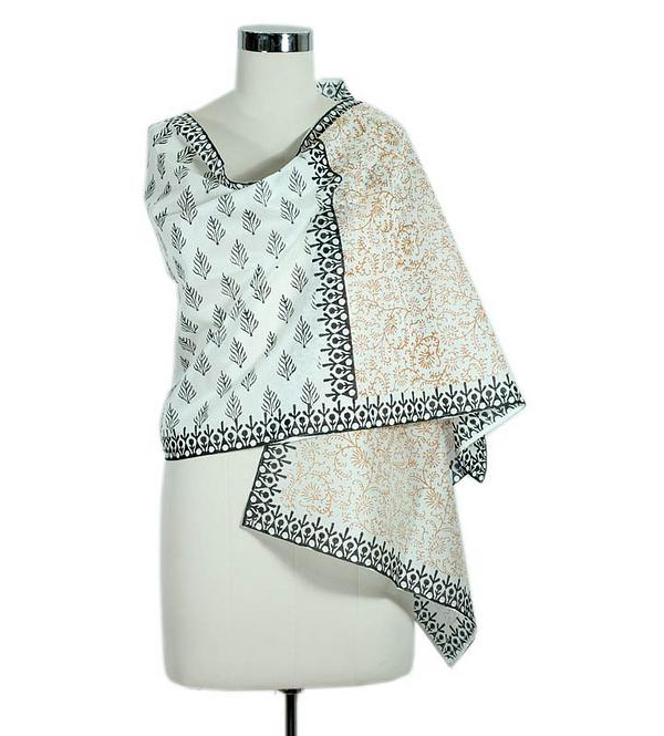 Novica Hand Block Printed Shawl from India