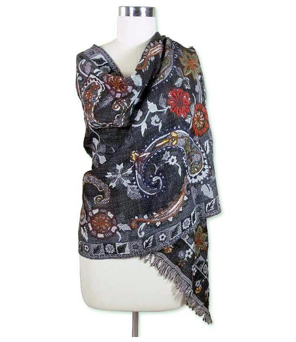 Novica Indian Wood Embroidered Shawl
