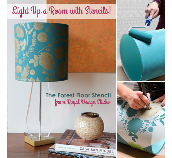 Stenciled Lamp Shade via Royal Design Studio