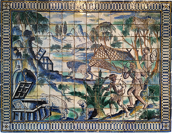 The Leopard Hunt Tile Mural at Portugal National Tile Museum