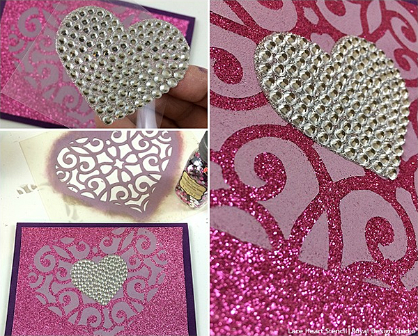 Glittery DIY Valentine Day Card