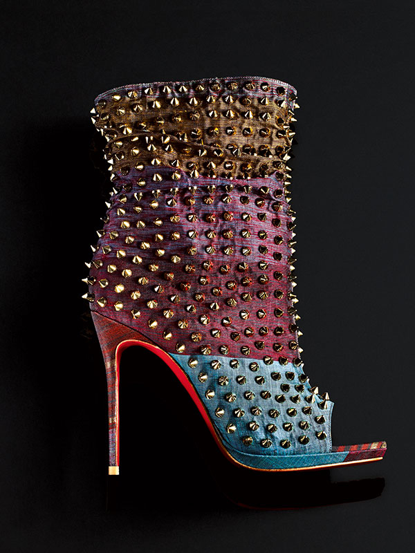 Christian Louboutin Kanchipuram Silk Saree Fabric Bootie