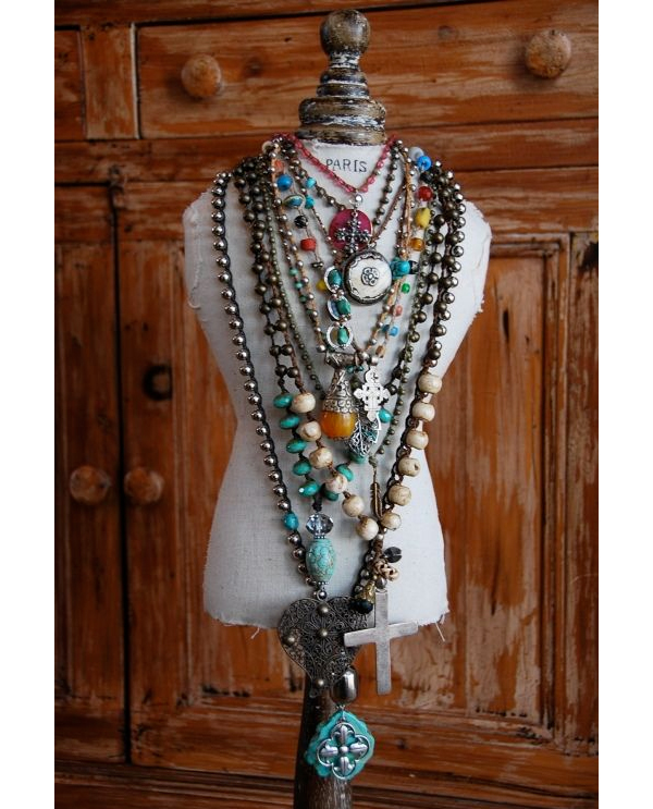 Necklace Display on Tabletop Dress Form