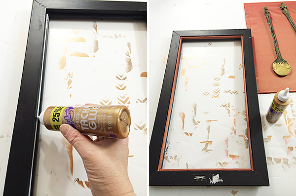 Gluing Silk Strips Into Frame