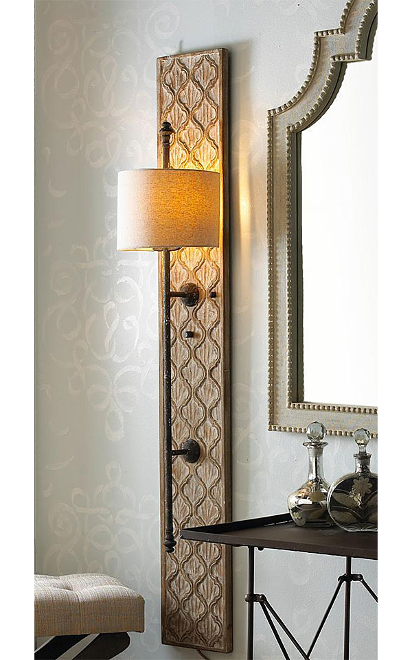 Long Vertical Wall Sconces : DIY Project: Wood Sconce with Embossed Stenciled Design Nomadic Decorator