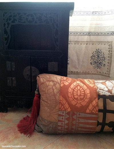 Patchwork Pillow and Chinese Cabinet