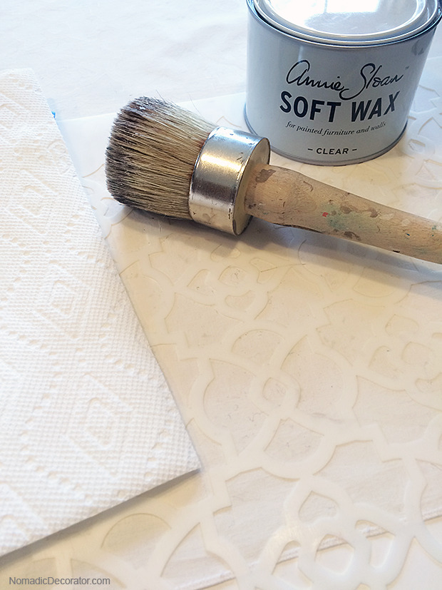 Stencil and Annie Sloan Clear Soft Wax
