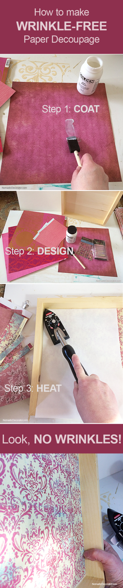 How to Make Wrinkle Free Paper Decoupage Collage