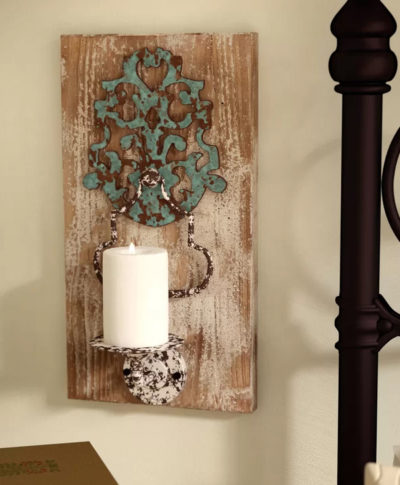 Iron and Wood Candle Wall Sconce at Wayfair