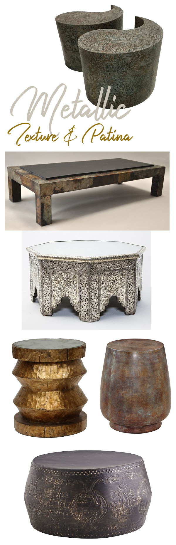 Metallic Texture and Patina Coffee Tables