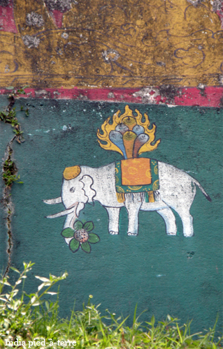 Painting on Buddhist Monastery Wall in Sikkim - India pied-a-terre blog