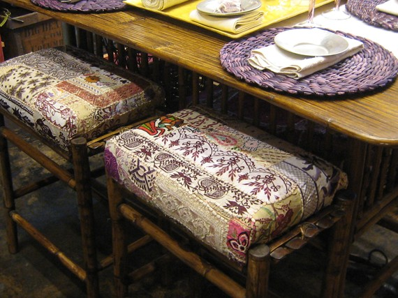 Dining Stools Covered with Sari Fabric
