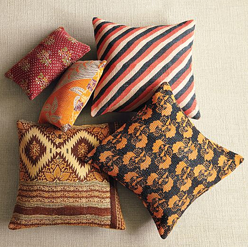 West Elm Pillows with Kantha Cloth
