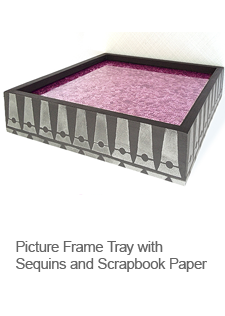 DIY Picture Frame Tray with Sequins and Scrapbook Paper