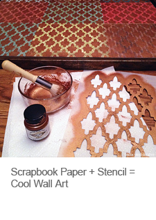 DIY Scrapbook Paper and Stencil Wall Art