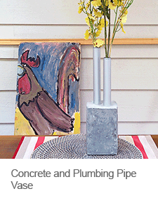 DIY Vase Made of Concrete and Plumbing Pipes