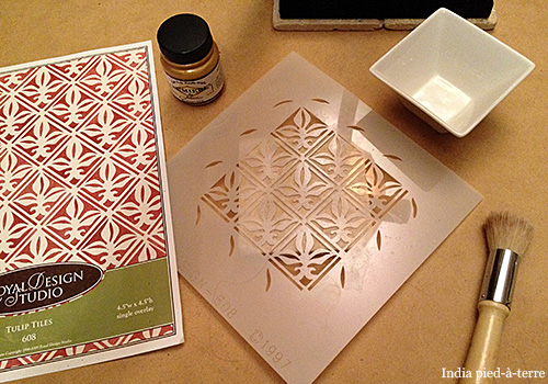 Painting-Stencil-on-Travertine-Tile