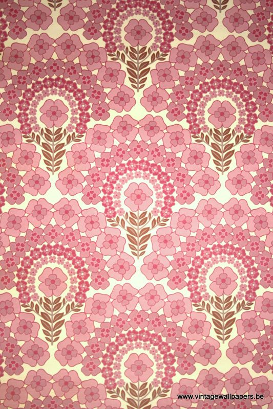 Dusty Pink Retro Wallpaper via Vintage Wallpapers