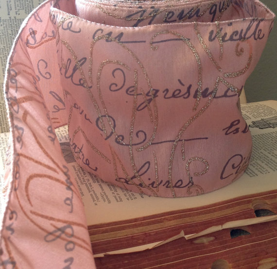 Dusty Pink Scripted Craft Ribbon at Etsy Shop ShyMyrtle