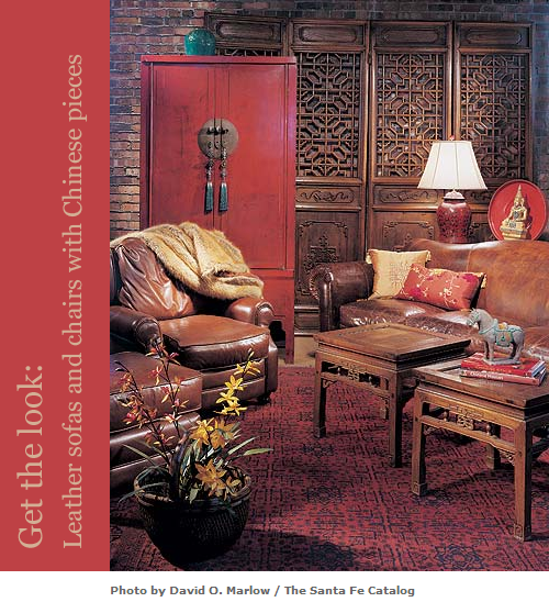 Leather-Sofa-with-Chinese-Cabinet-via-Asian-Adobe-and-The-Santa-Fe-Catalog