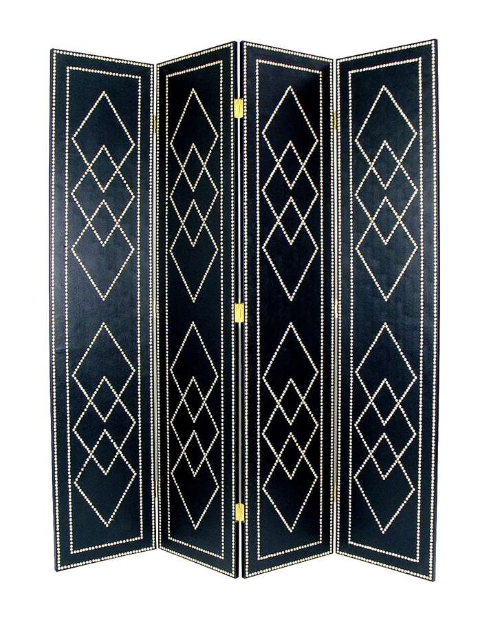 Nail Head Trim on Faux Leather Divider from Room Divider Store