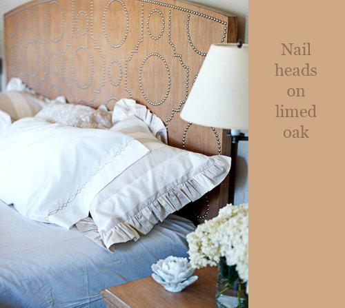 Nail Heads on Wood Headboard via House Beautiful