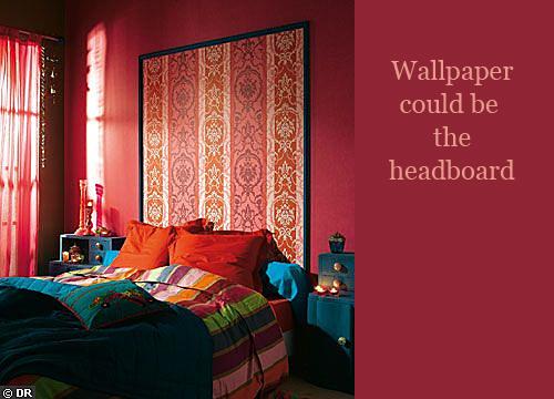 Framed Wallpaper as Bed Headboard via Castorama