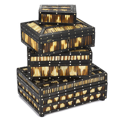 Anglo-Indian Porcupine Quill and Ebony Boxes via Bonhams