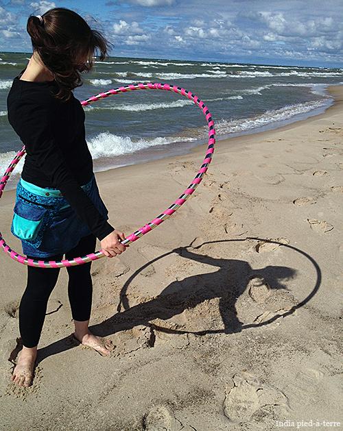 Hula Hooping on the Beach