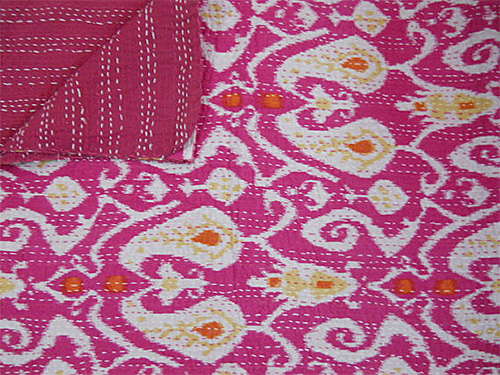 Ikat Indian Kantha Quilt from Indian Mall Etsy Shop