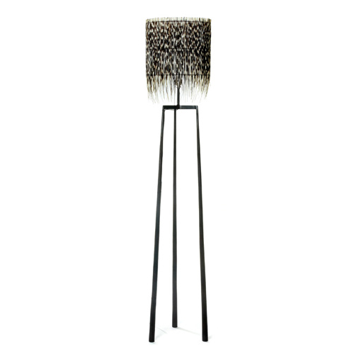 Iron Tripod Porcupine Quill Floor Lamp