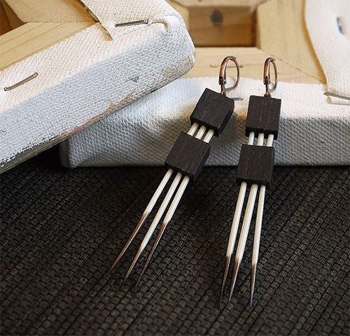 Porcupine quill ebony wood earrings by Brianna Kenyon