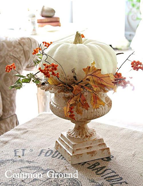 White Pumpkin in Urn by Common Ground