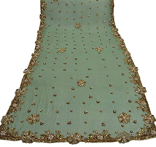 Vintage green and gold dupatta from eBay seller sanskriti india