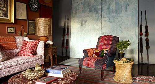 John Robshaw's Living Room in Elle Decor