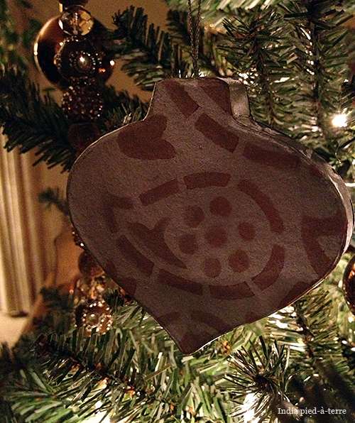 Christmas Tree Ornament with Paisley Stencil