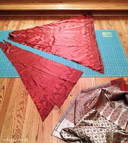Parts of a Sari Christmas Tree Skirt