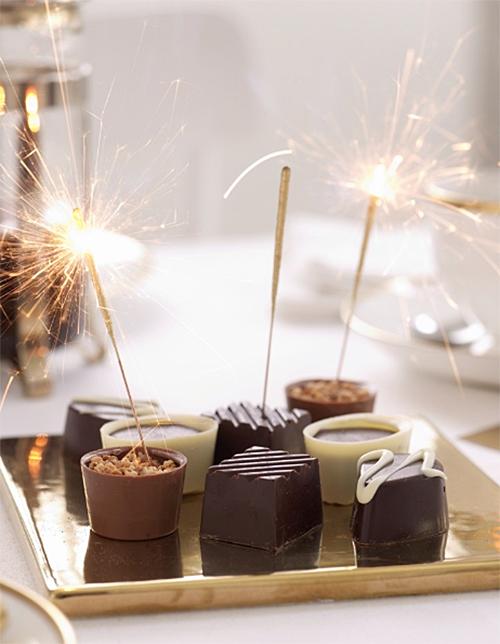 Sparklers on chocolate