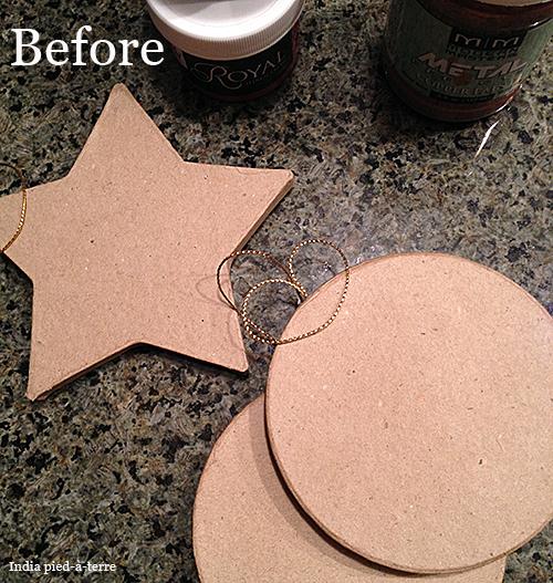 Stenciling Paper Mache Ornaments