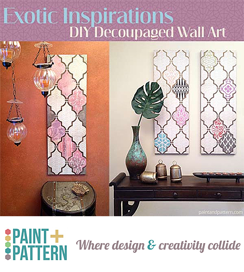 Stenciled Wall Art with Decoupage Scrapbook Paper