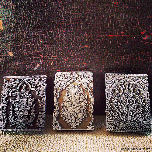 Indian Wood Printing Blocks with Mughal Arches