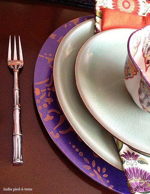 Stenciled Charger Under Celadon Plates