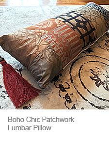 Boho Chic Patchwork Lumbar Pillow