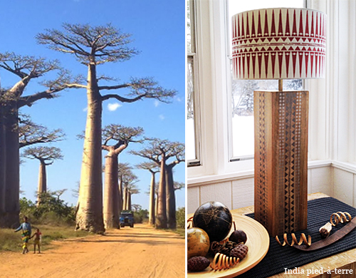 African Tribal Stenciled Lamp with Baobob Tree Proportions