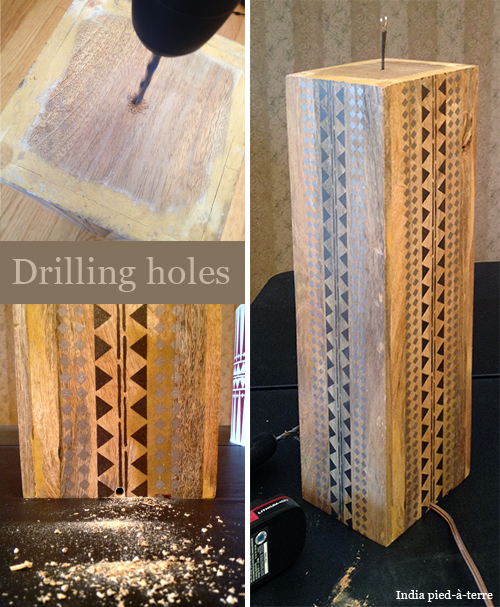 Drilling Holes to Make a Lamp