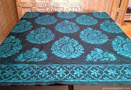 India-Inspired Stencils on Silk Fabric
