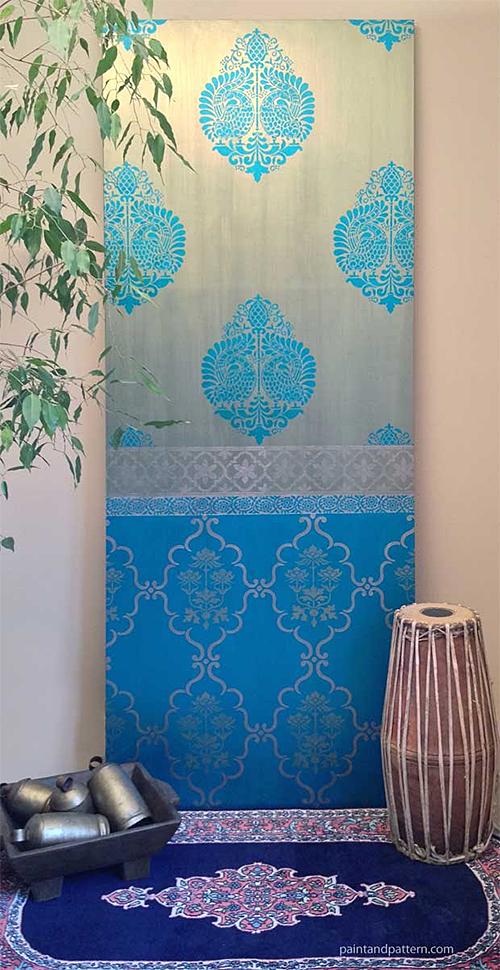 Stenciled Sari Pattern Wall Panel